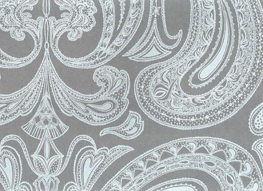 Malabar Wallpaper Light blue on grey Indian paisley design wallpaper 534x388
