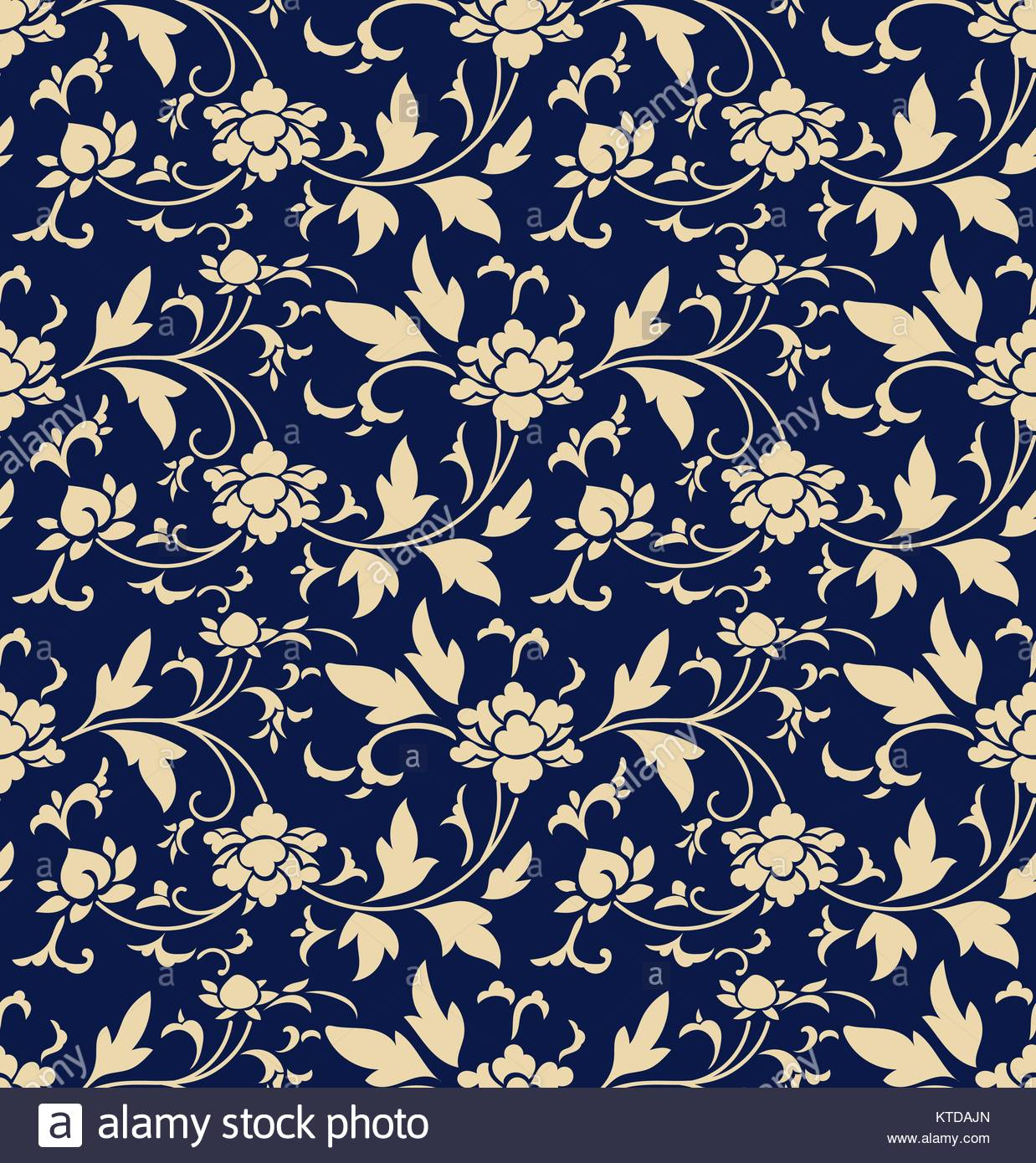 Seamless background retro navy blue botanic garden flower vine 1238x1390