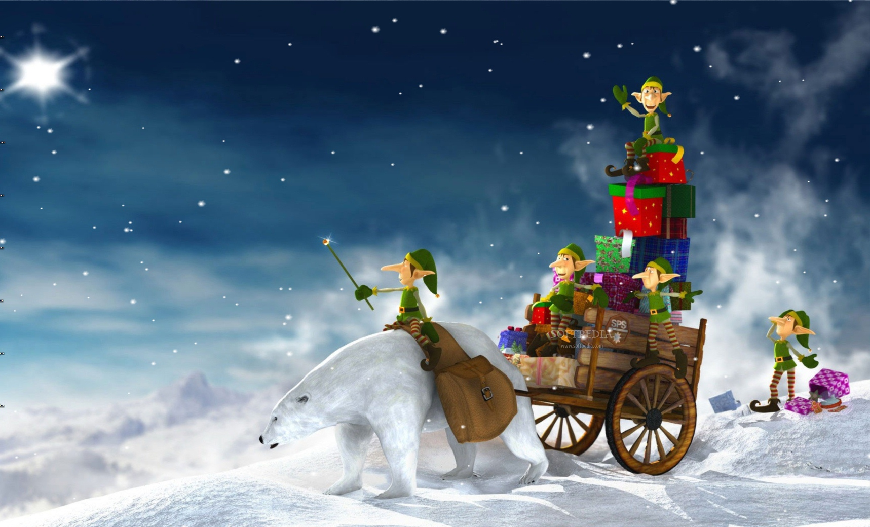 Santas Elves Animated Desktop Wallpaper   This is the image that will 1717x1040