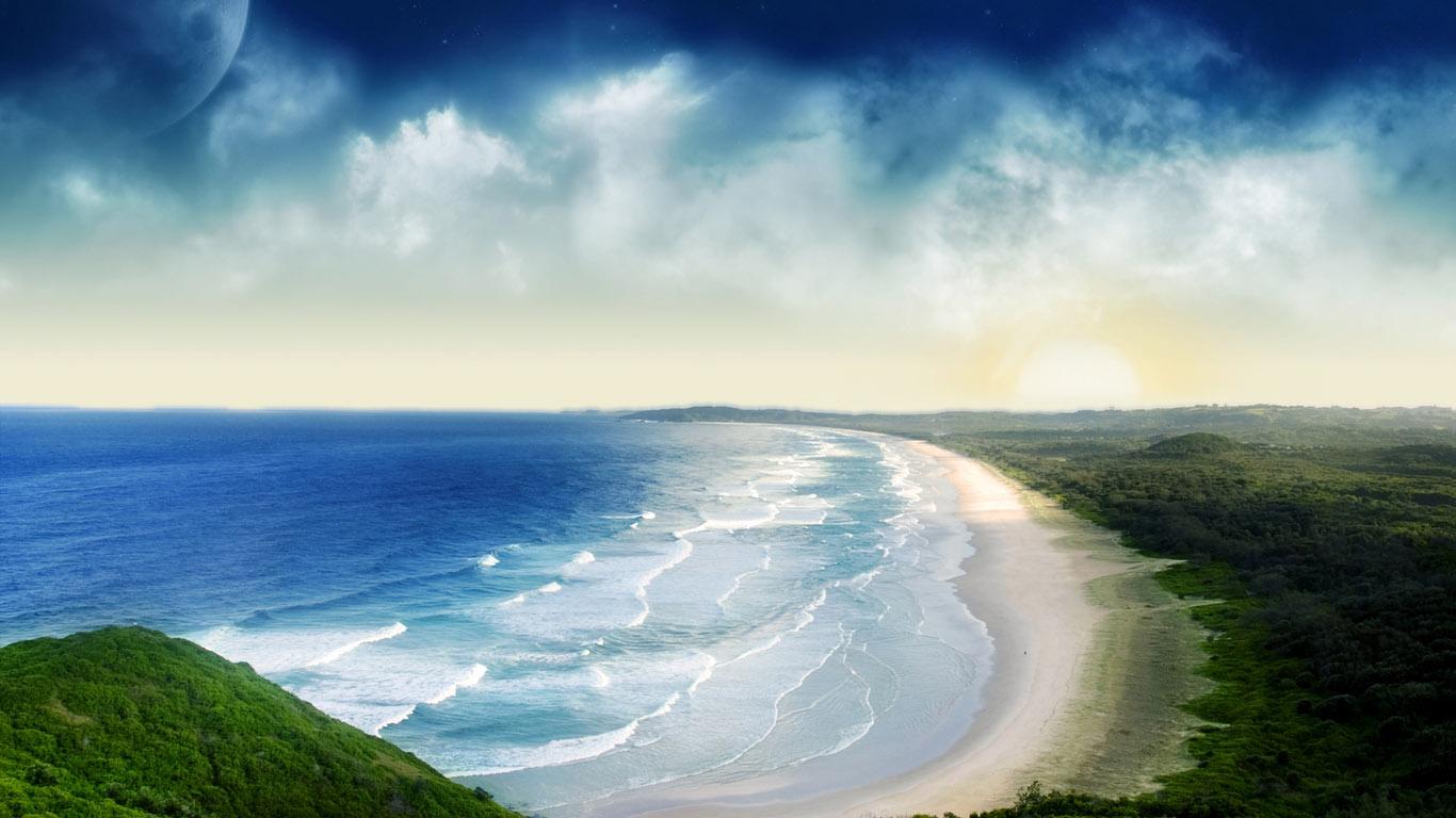 Cool 3D Beach   Best 3D Wallpapers 1366x768