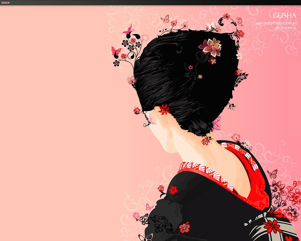 Geisha wallpaper desktop wallpapersafari for Oriental wallpaper