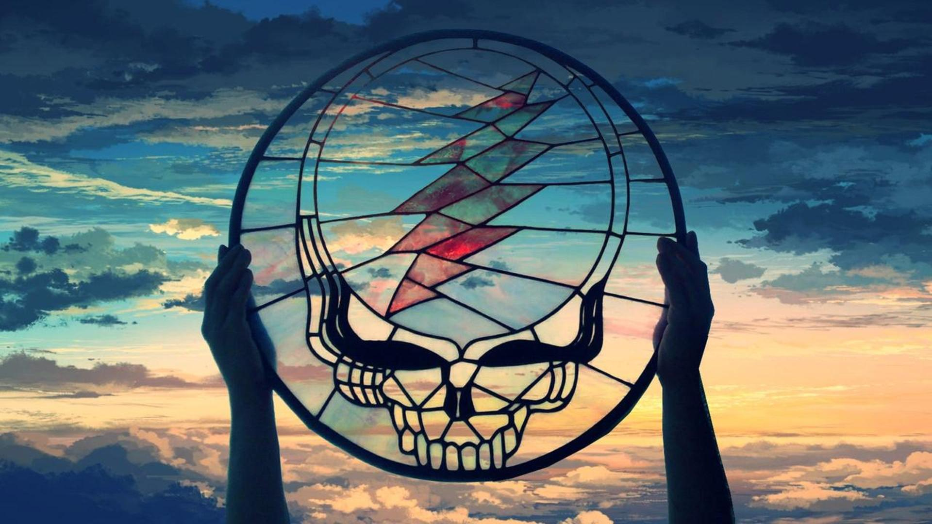 Grateful Dead Stained Glass Stealie over Painted Sky[1920x1080 1920x1080