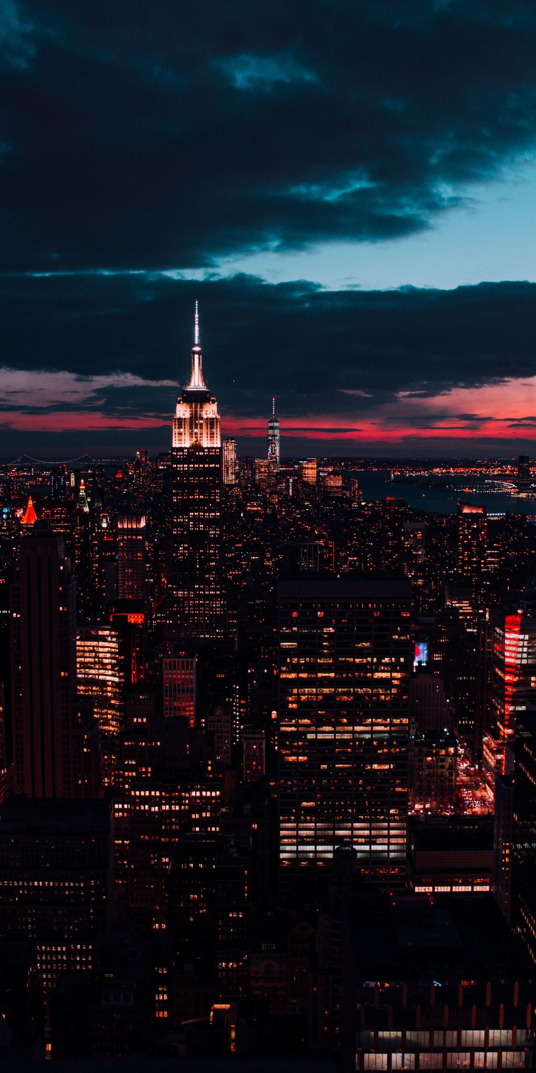New york buildings night cityscape 1080x2160 wallpaper New 1080x2160