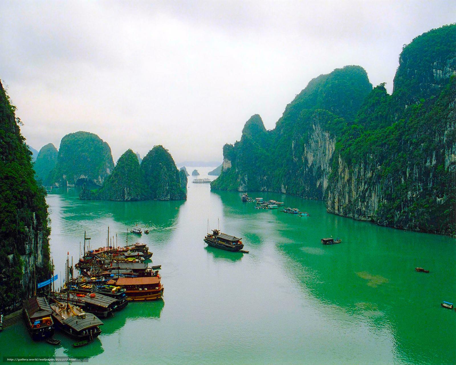 Download wallpaper Vietnam Mountains Ships desktop wallpaper in 1600x1280