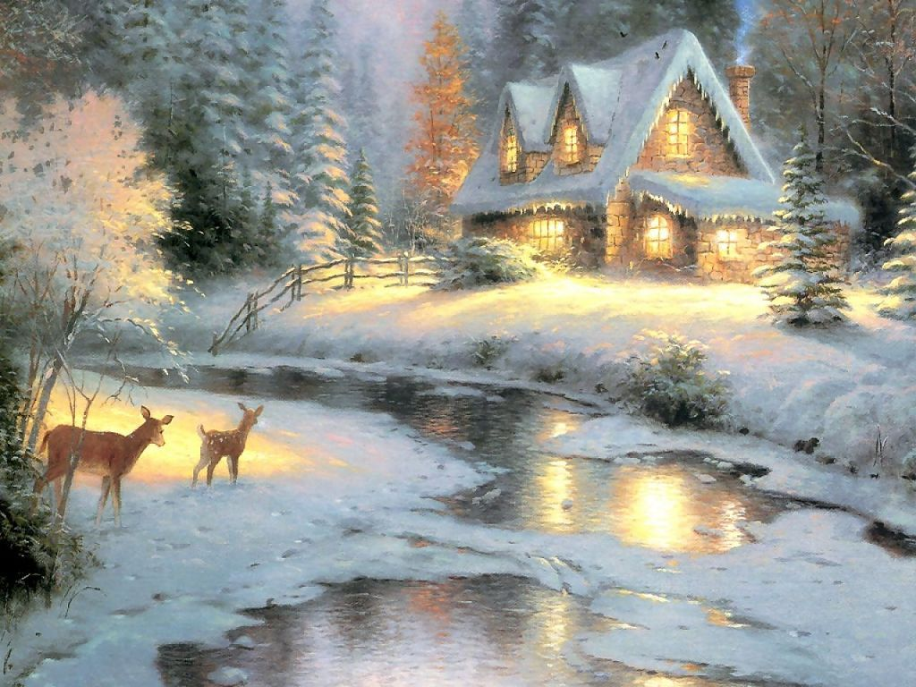 Kinkade christmas cottage - Christmas Wallpapers Thomas Kinkade Wallpaper Wallpaper Hd