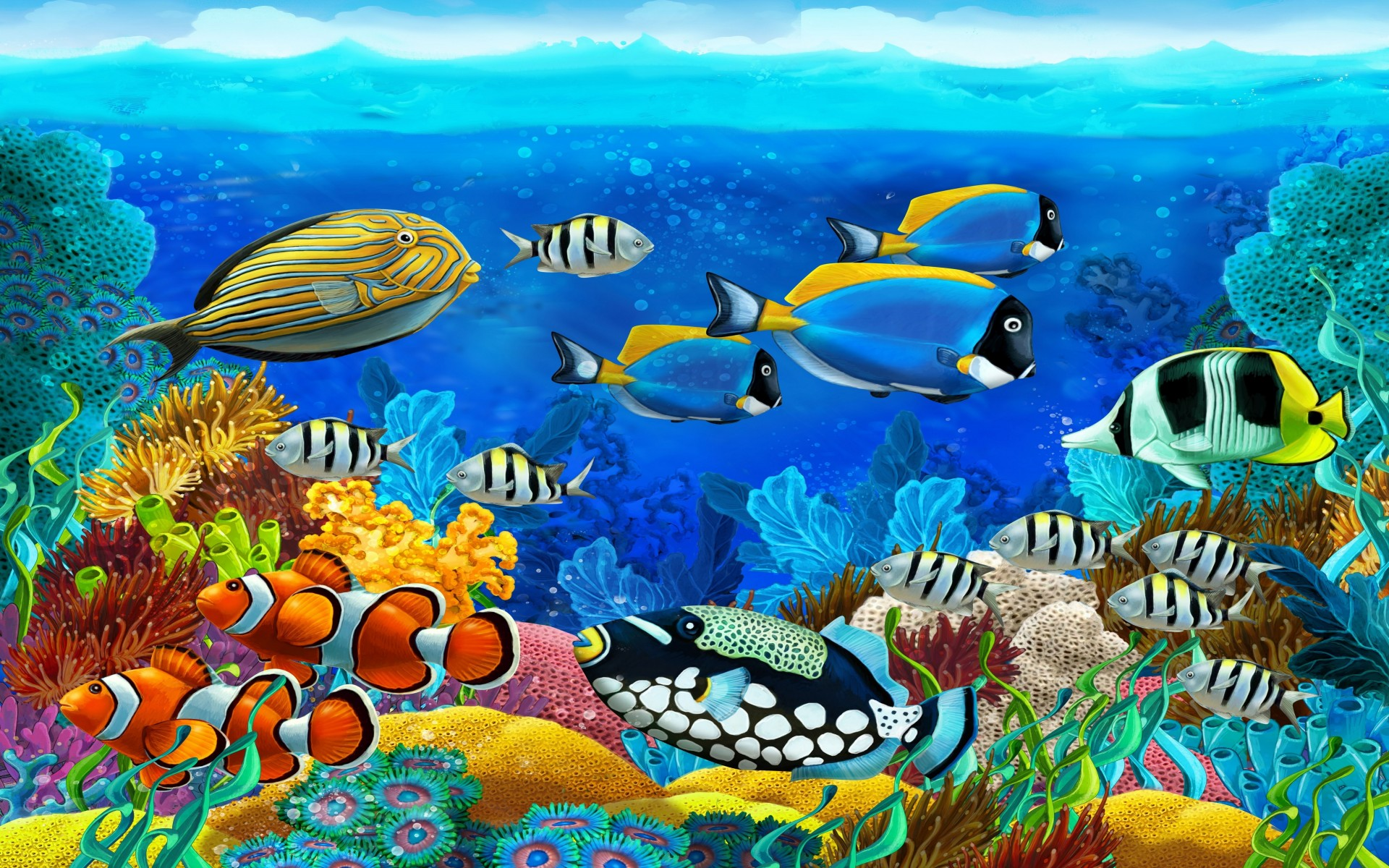 Ocean Marine Animals Barrier Reef Tropical Colorful Fish 1920x1200