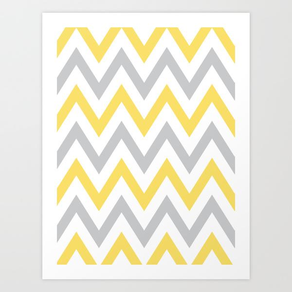 Gray Yellow Chevron Art Print by Dani Society6 600x600