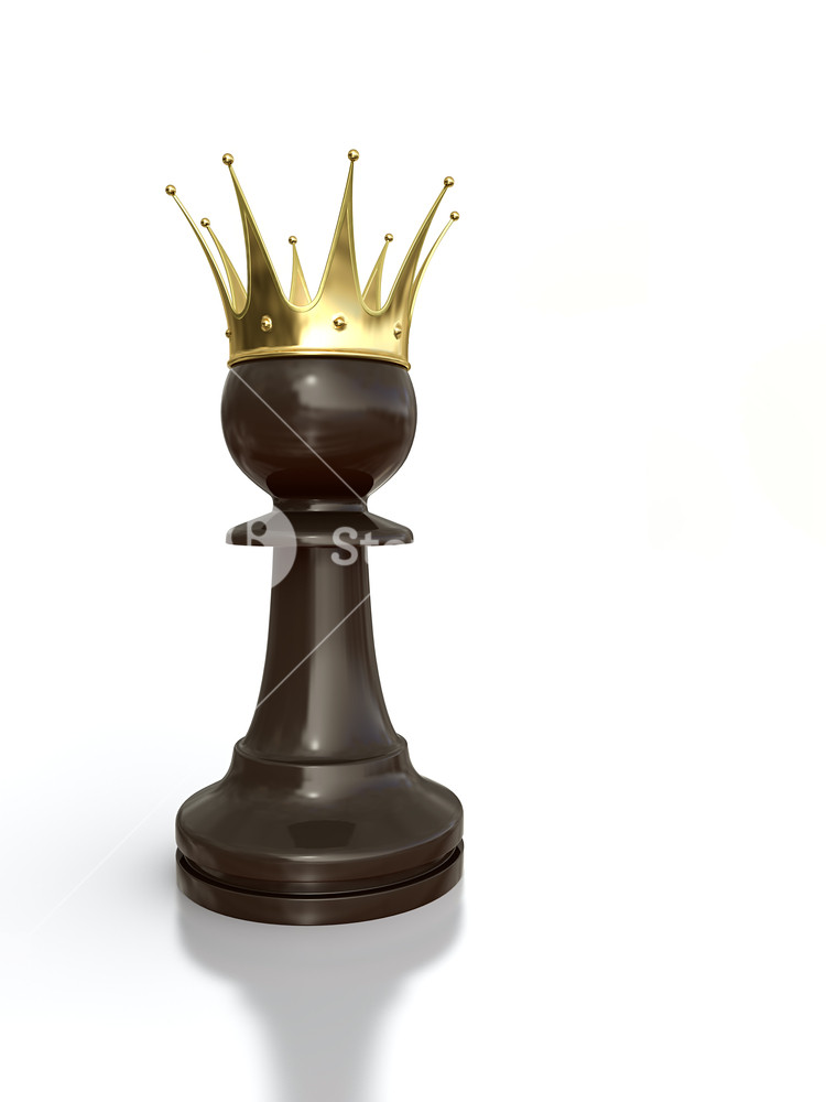 3D render of black pawn with golden crown isolated on white 750x1000