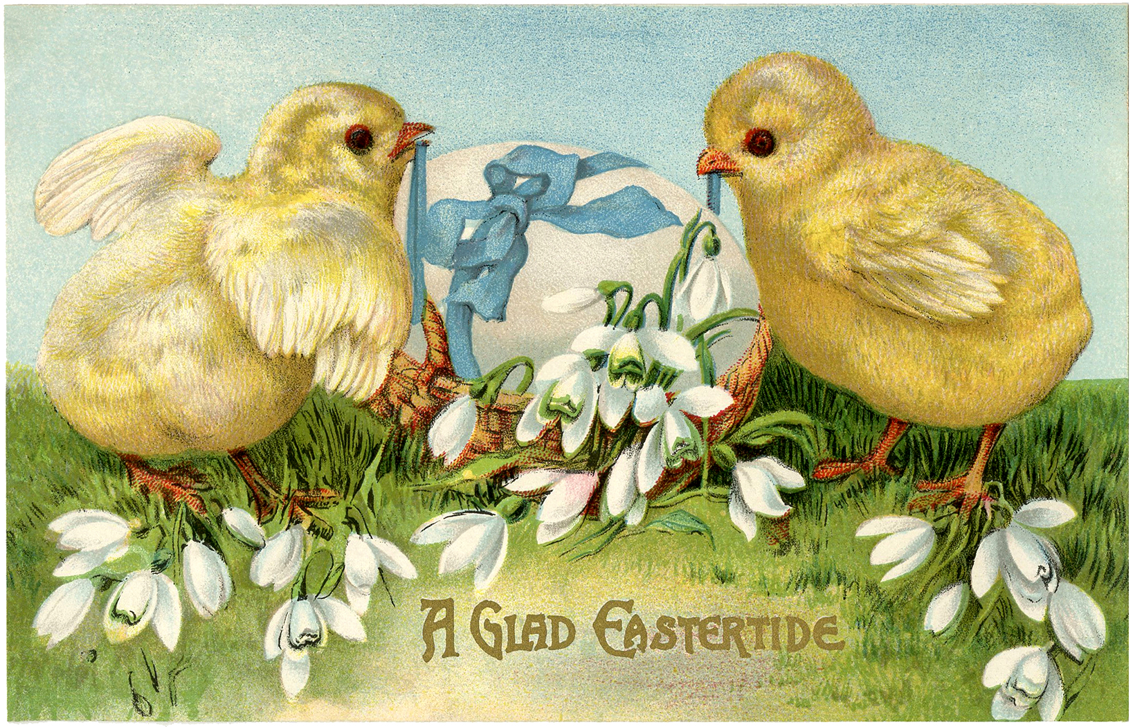 Vintage Easter Card   Adorable Peeps   The Graphics Fairy 1637x1050