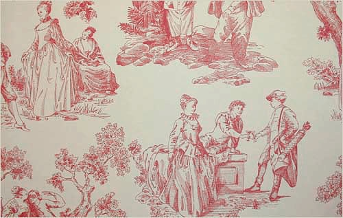 Gardens Toile de Jouy Wallpaper Cherry red on cream toile de jouy 500x317
