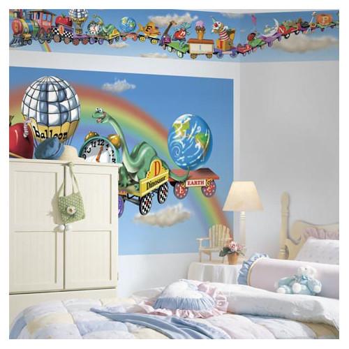 Panoramic Mural Style Alphabet Train Mural Wallpaper Border Wayfair 500x500