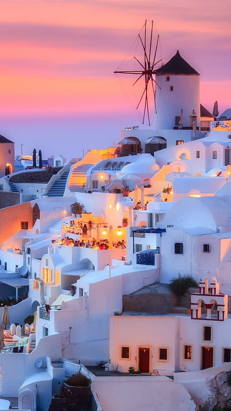 Wallpaper Greece Santorini island dusk houses lights 750x1334