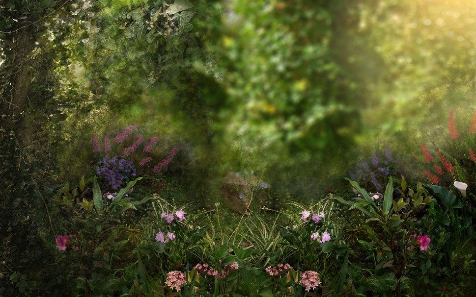 fairy garden white wallpaper - photo #19