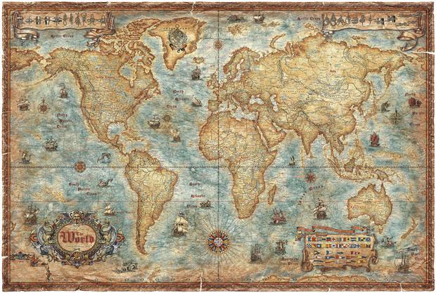Modern World Antique Map   Wall Mural Photo Wallpaper   Photowall 620x417