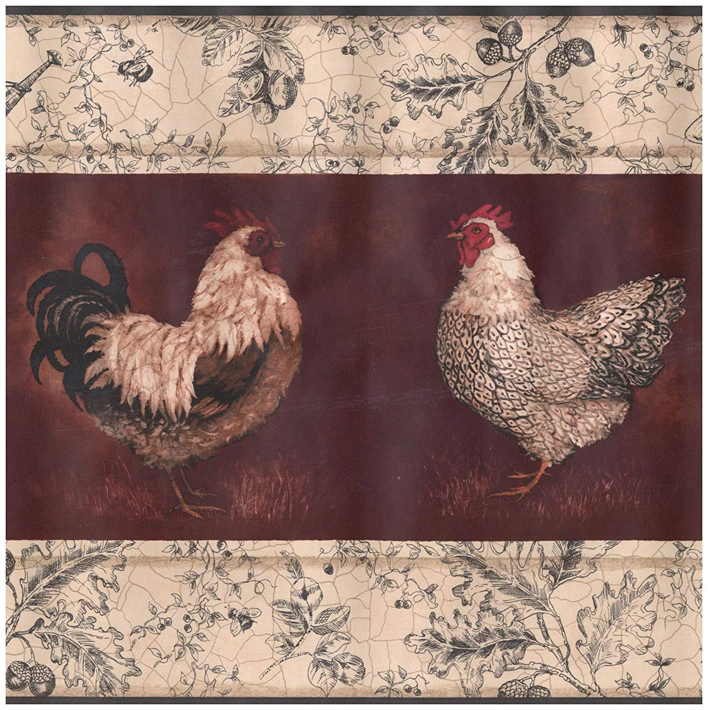 Prepasted Wallpaper Border   Beige Black White Rooster Hen Wine 1496x1500
