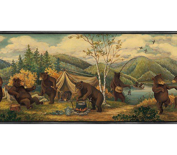 Blue Mountain Bears Wallpaper Border 600x525