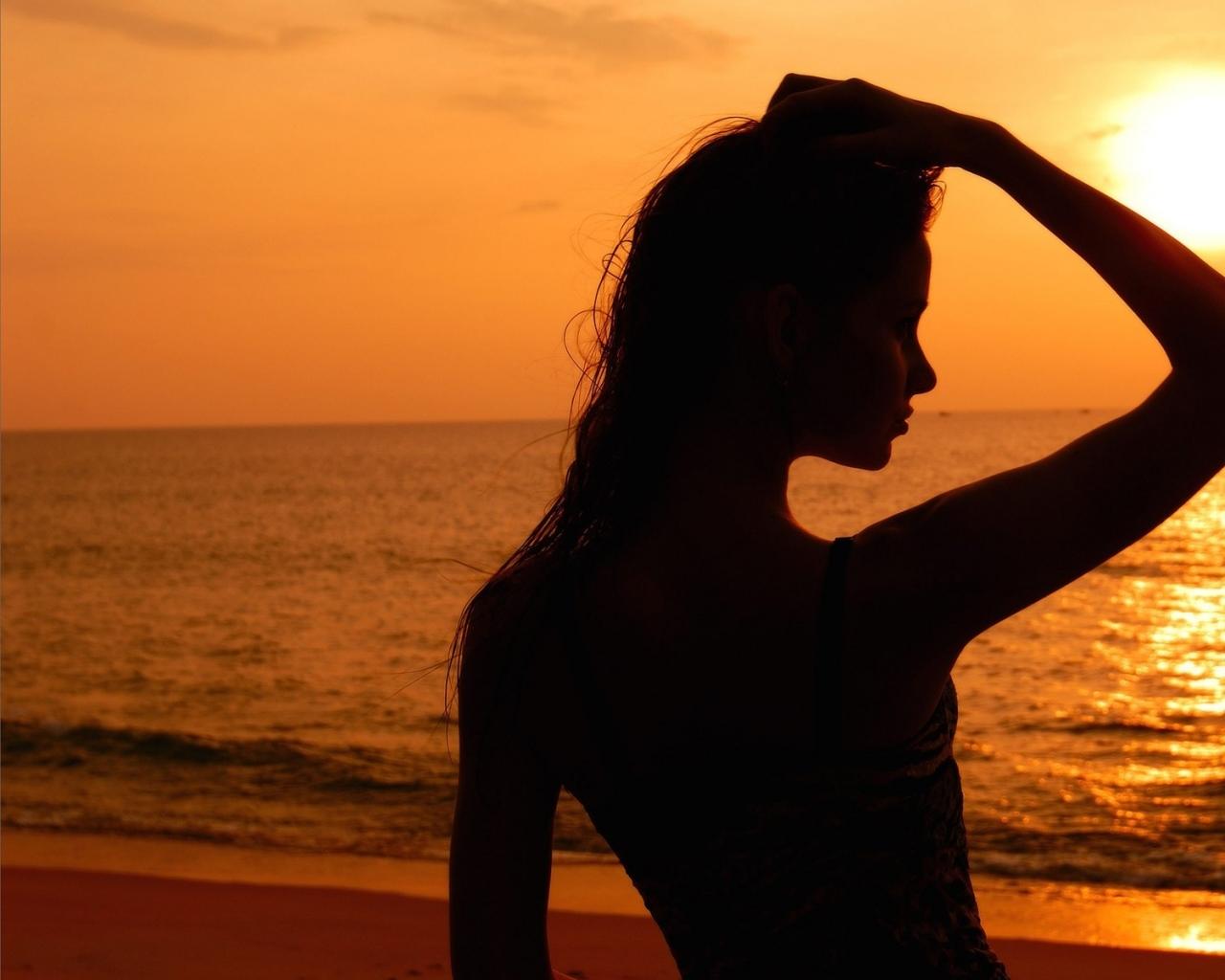 sunset beach silhouette 1920x1200 wallpaper Wallpaper 1280x1024