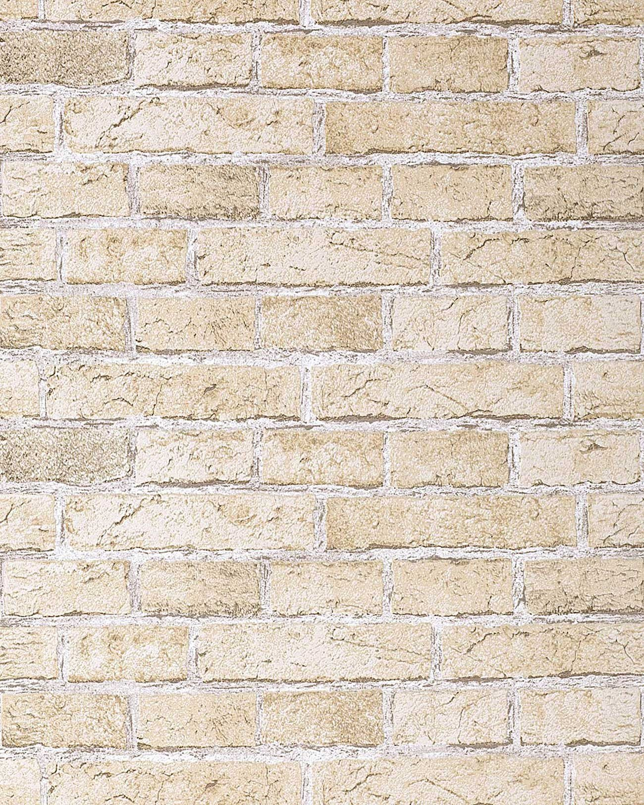 20 Rustic design brick wallpaper decor vintage stone look sand beige 1300x1625