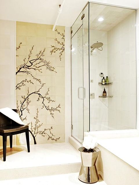 Asian Inspired Wallpaper and Murals in Bathroom Decor 480x640