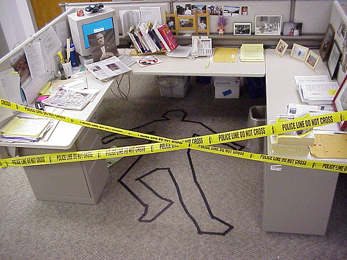 funny april fools prank practical joke idea for the office crime scene 500x375