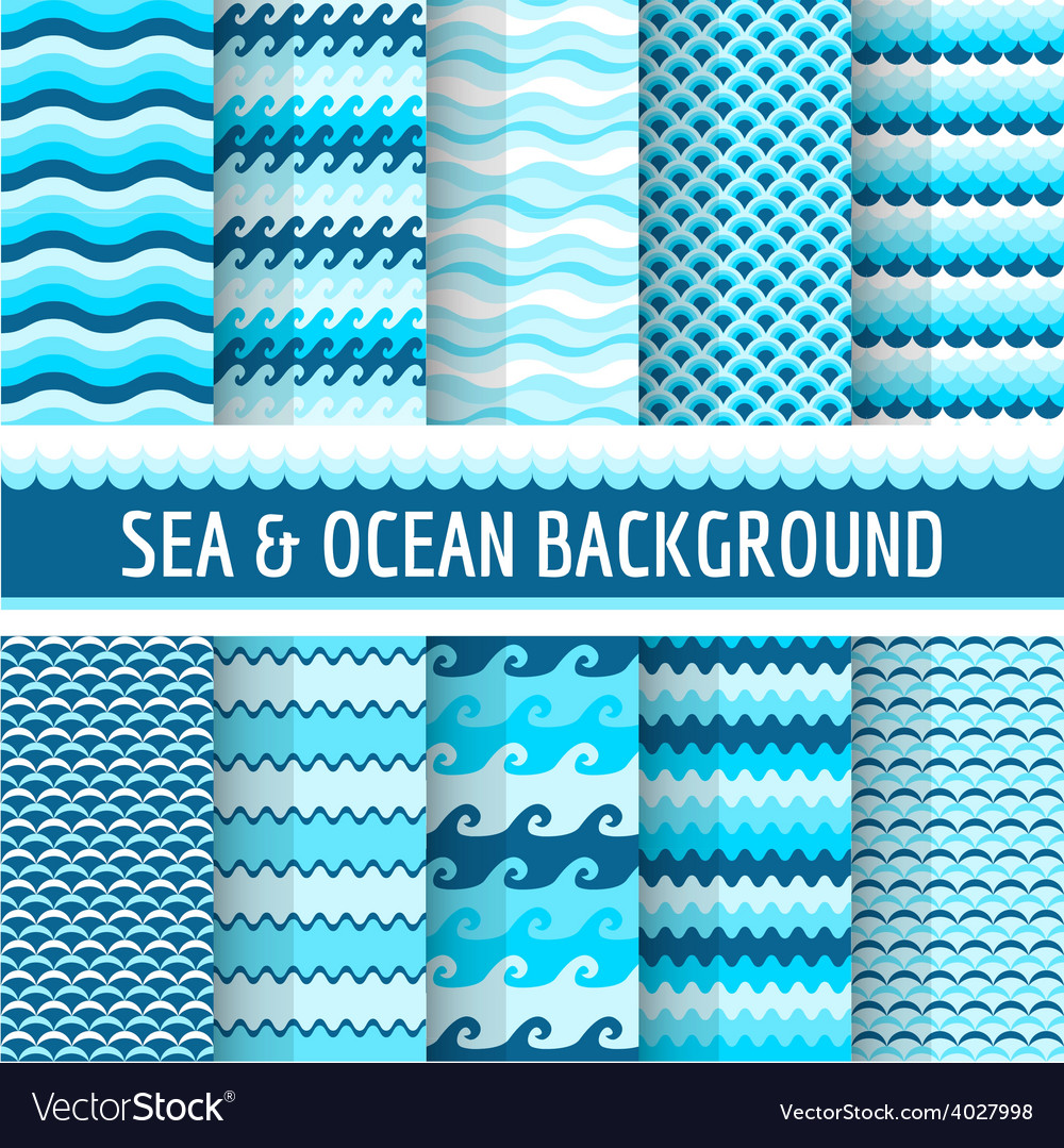 10 seamless nautical backgrounds Royalty Vector Image 1000x1079