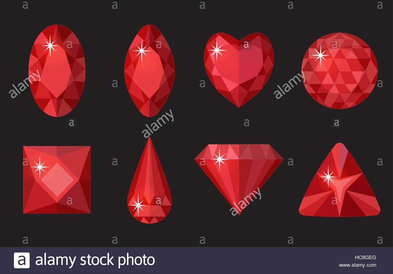 Red gems set Jewelry crystals collection isolated on black Stock 1300x906
