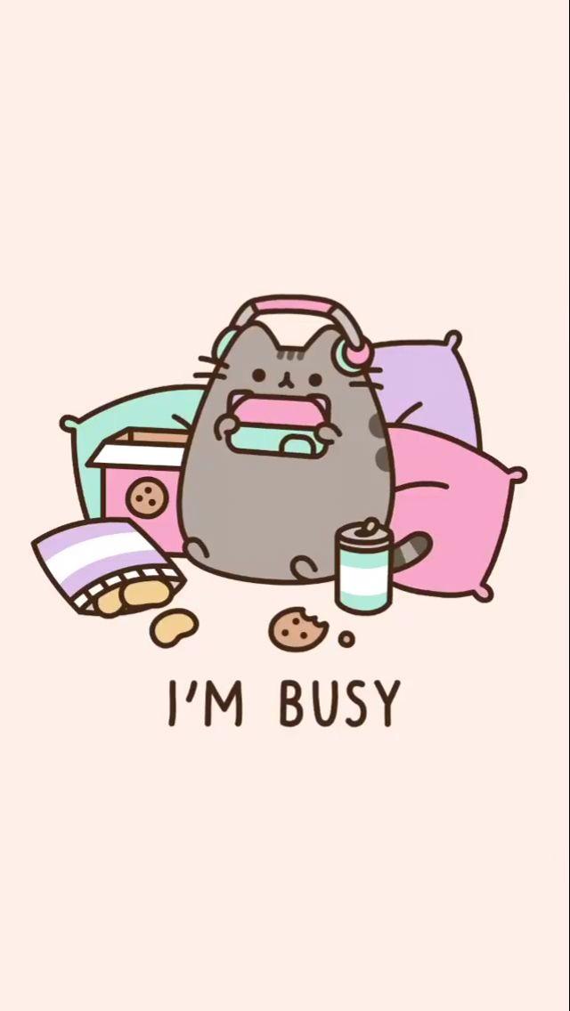 pusheen pusheencat cat kitten cute adorable imbusy busy 640x1136