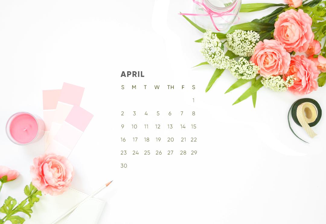 April Calendar Desktop Wallpaper Download 1080x742
