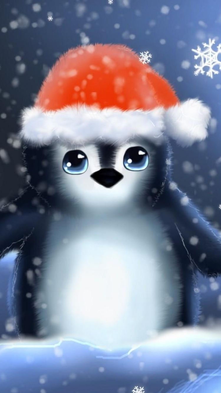 750x1334 Wallpaper penguin hat cub snowflakes christmas 750x1334