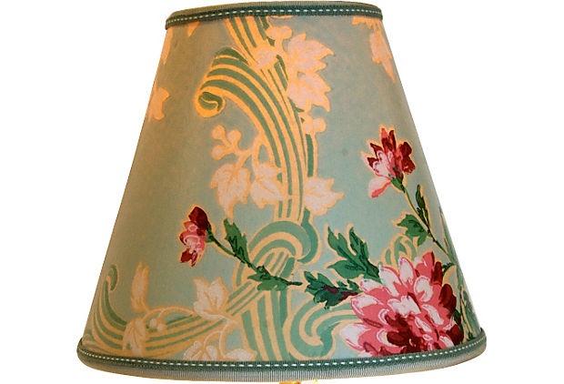 Wallpaper lampshade from One Kings Lane Lighting Pinterest 620x422