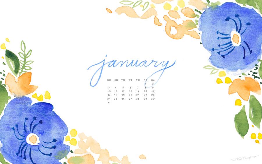 January Watercolor Floral Calendar Download for your computer desktop 900x563