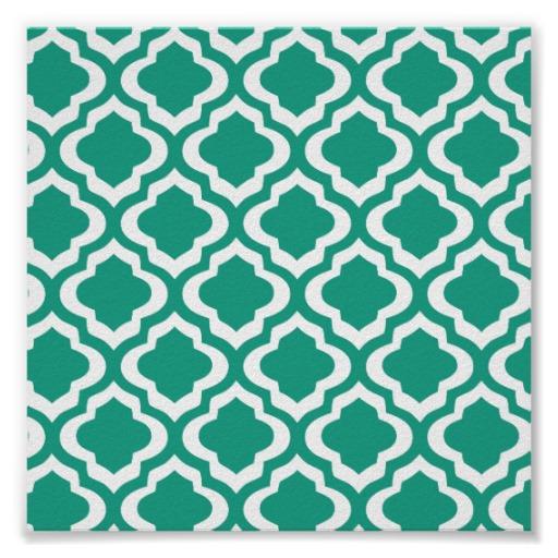 Elegant Teal Moroccan Trellis Quatrefoil Clover Poster Zazzle 512x512