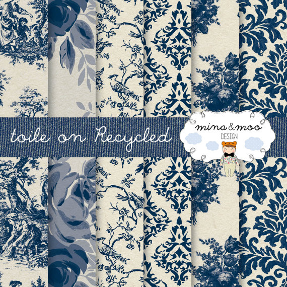 Toile de jouy   Classic Blue on a recycled background   french pattern 570x570