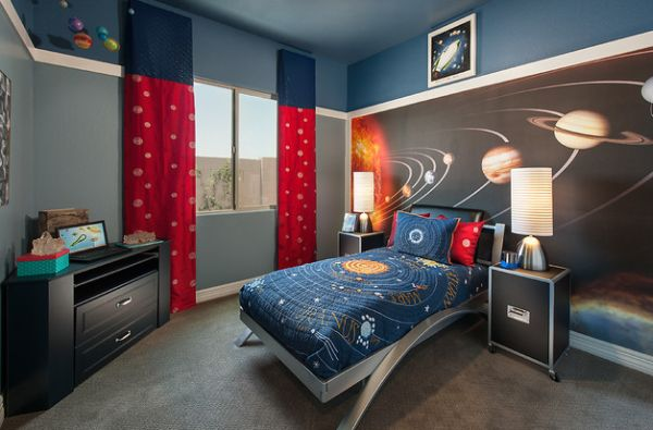 Kids Bedding And The Wallpaper Bring In Cosmos Into Kids Bedroom Image 600x395