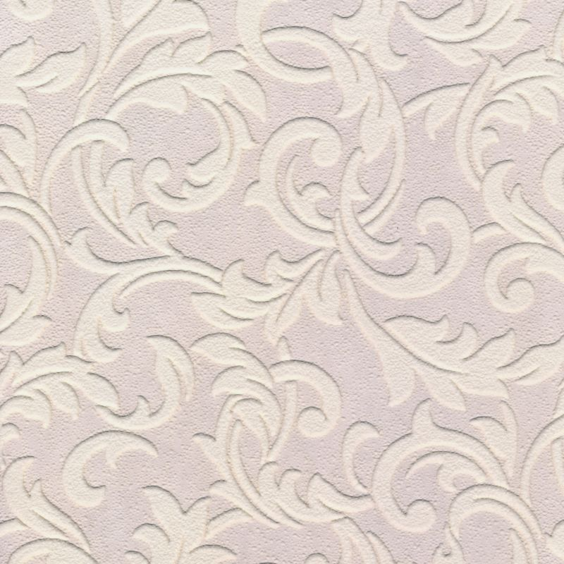 Scroll Paintable Wallpaper in White with Vinyl Wallpaper by BQ 800x800