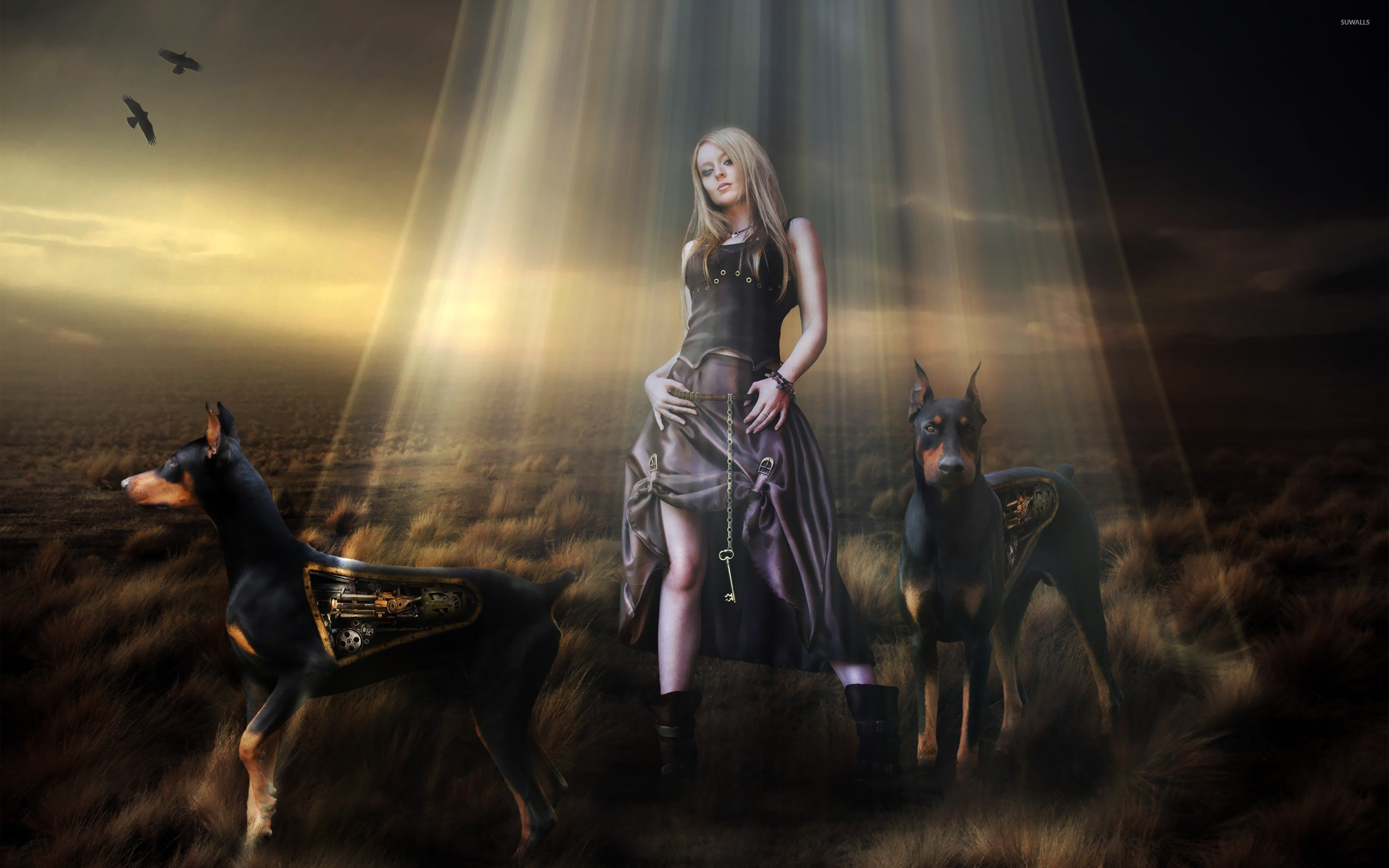 Steampunk girl and dobermans wallpaper   Fantasy wallpapers   25336 1280x800