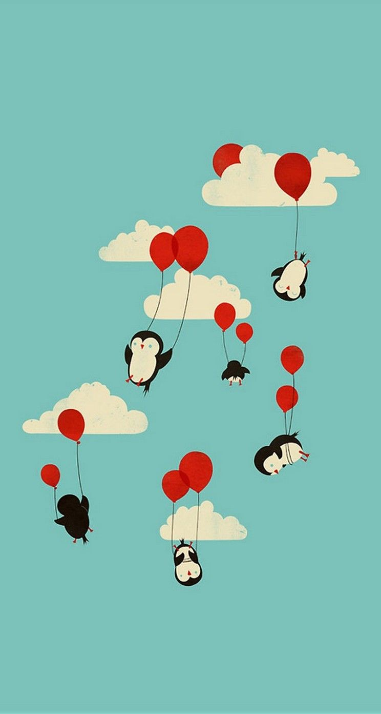 Penguin Balloon retro wallpaper   mobile9 Backgrounds 744x1392