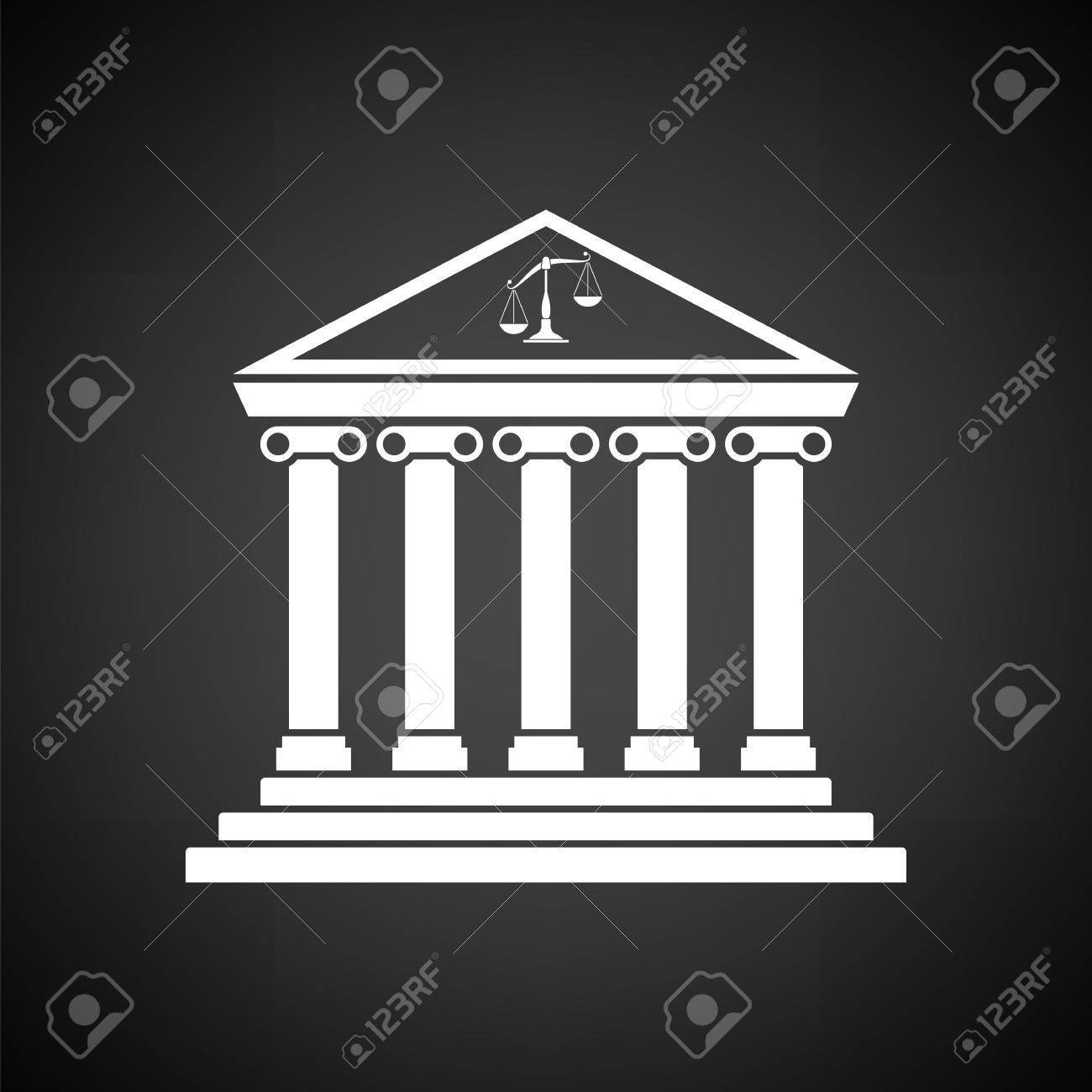 Courthouse Icon Black Background With White Vector Illustration 1300x1300