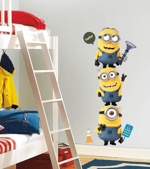 Despicable Me Minions wallpaper and wall sticker on kids bedroom 600x677