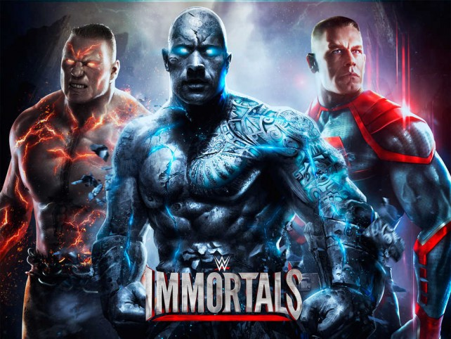 of pro wrestling and Injustice Gods Among Us collide in WWE Immortals 642x482