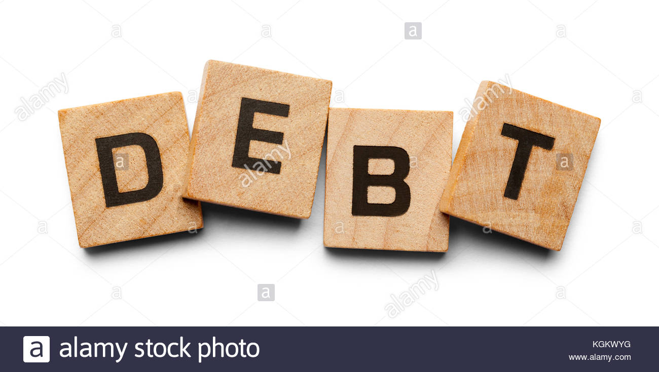 Debt Spelled with Wood Tiles Isolated on a White Background Stock 1300x735