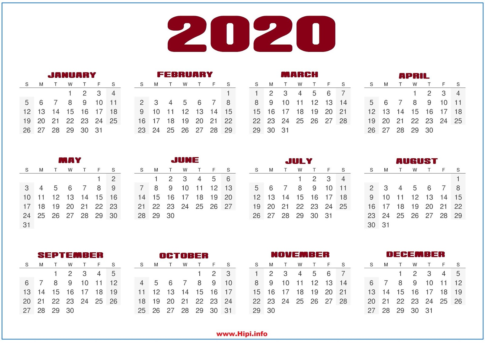 Monthly 2020 Desktop Calendar Wallpapers 1600x1131