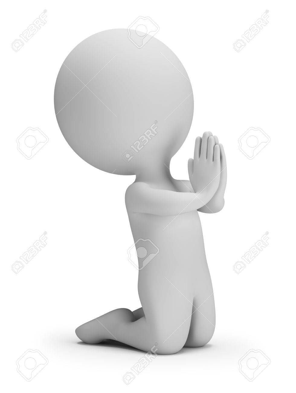 3d Small Person In A Posture Of Prayer 3d Image White Background 980x1300