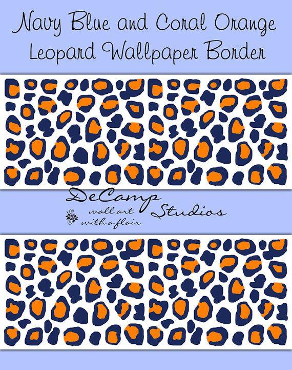 NAVY BLUE CORAL Orange Leopard Wallpaper Border Wall Decals Teen Boy 570x721