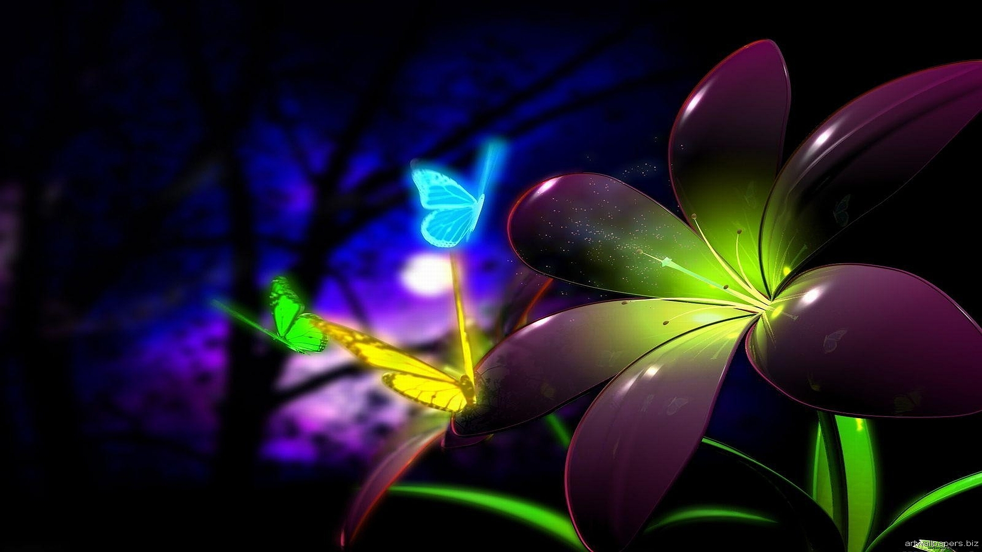 Neon Butterflies wallpaper background 1920x1080