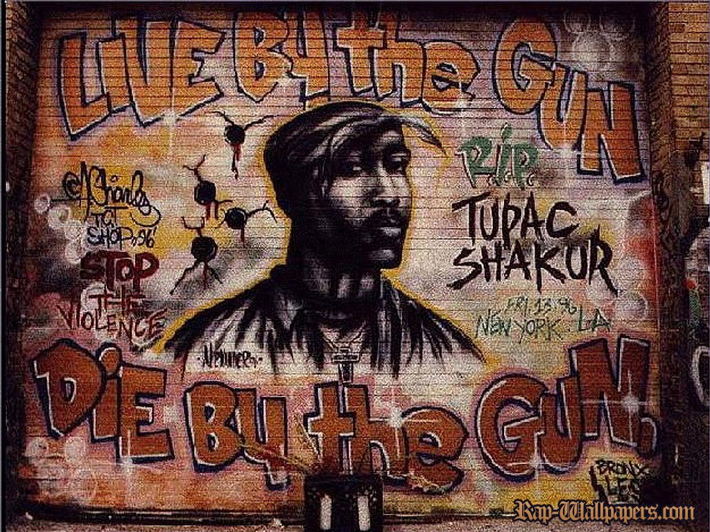 Tupac Shakur RIP Graffiti Mural Rap Wallpapers 1024x768
