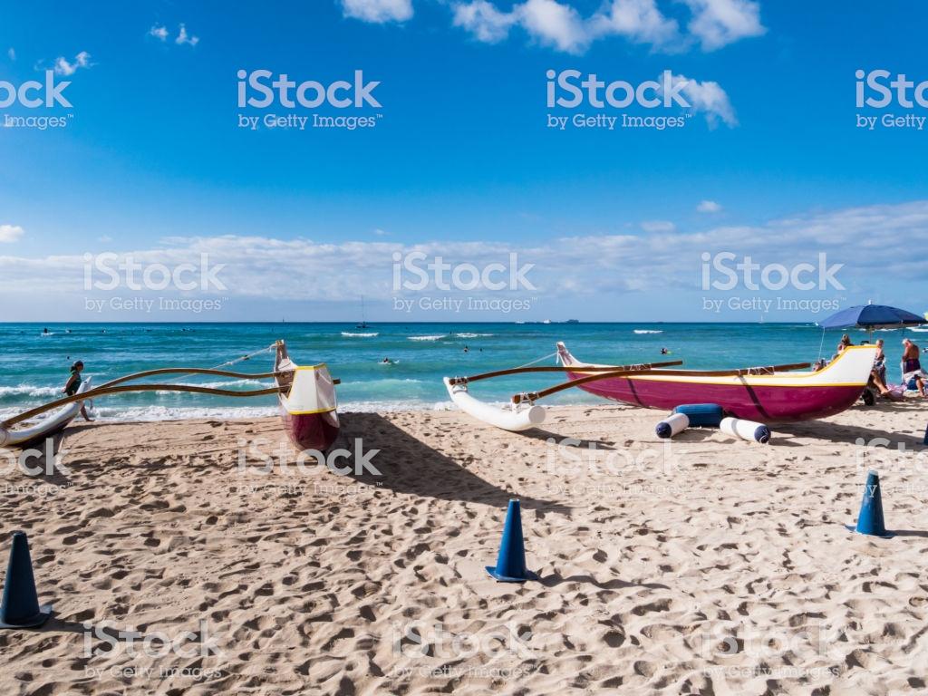 Beach canoe hawaii wallpaper 1024x768