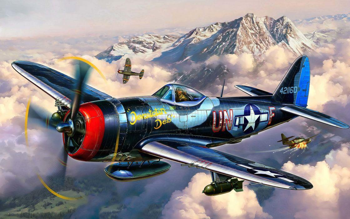 Art thunderbolt republic plane p 47 military wallpaper 2560x1600 1120x700