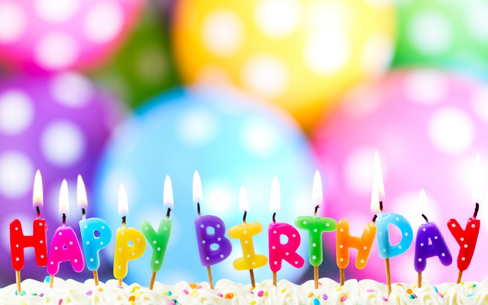 cake candles happy birthday balloons bokeh photo hd wallpaper 1680x1050