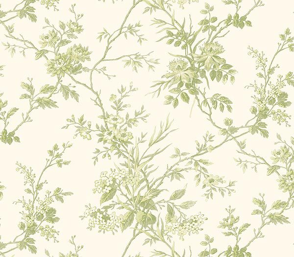 Lime Green Floral Toile Wallpaper   Kitchen Bathroom Wallpaper 600x525